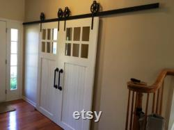 The Classic 6 Pane Lite sliding glass barn door