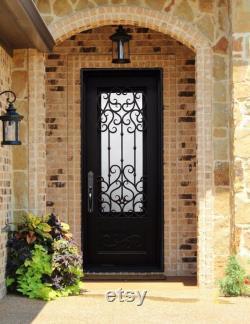 Tignes 38 x 81 Pre-hung Front Entry Wrought Iron Single Door Rain Glass Oil Rubbed Bronze