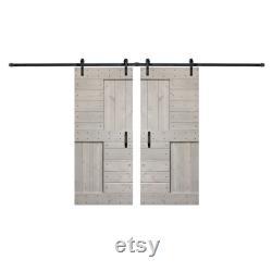 Traditional Full S Styled 36 x 84 Double Barn Wood Door DIY Solid Interior Sliding Door withhardware Kit Wheel Sliding Barn Door and Handel