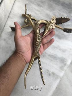 Trinetra superfine brass peacock shape door handle pair totally handmade or handcasted.