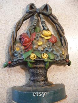 Vintage 1920's Cast Iron Jersey Flower Basket Door Stop