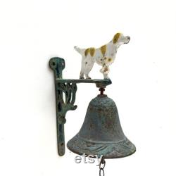 Vintage Cast iron French Dog Hound Door Bell Cloche Door furniture Decorative French Home French Farmhouse