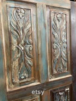 Vintage Distressed Floral Hand Carved Rustic Door,Teak Wood Panel,Artistic Carved Barn Door Farmhouse Door Panel 80x36
