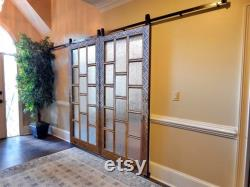 Vintage French Glass Barn Door, Double Single Sliding Track or Regular interior Rustic Wooden Doors, Solid wood Carved Antique Door
