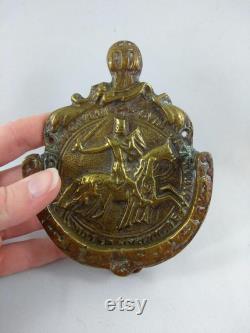 Vintage Knights Templar on Horseback Door Knocker, Brass Masonic Door Knock