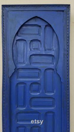Vintage Moroccan blue door handmade indoor bedroom architectural wooden artwork blue majorelle mediterranean unique wardrobe door