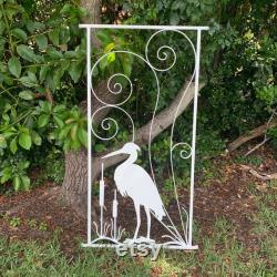 Vintage Reproduction, Egret in the Cat Tails, Screen Door Grille, Attach to any Screen Door, Metal, Custom Sizes and More Colors Available