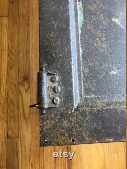 Vintage Steel Factory Door Rusted Spotty Paint Repurposed Coffee Table Rusty
