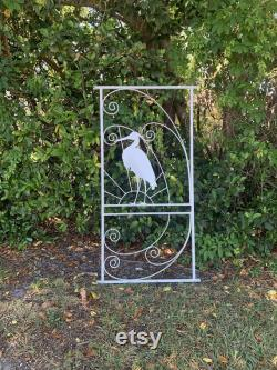Vintage Style, Screen Door Grille, Attach to Screen Door for Custom Coastal Style, Egret, Sunset, Metal, Custom Sizing, More Colors Avail
