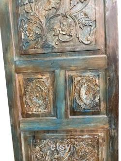 Vintage Teal Blue Door Panel, Floral Carved Teak Wood Panel Artistic Carved Barn Door Reclaimed Farmhouse Interior Sliding Closet Door 80x36