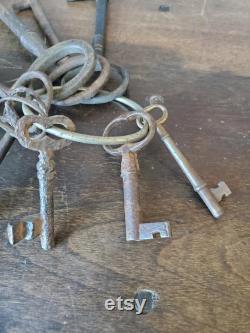 Vintage antique skeleton key lot Large French Antique Skeleton Keys from the 1800s Vintage medieval door keys 1500 18th century keys