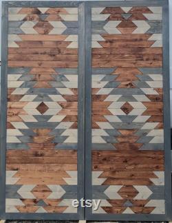 WOOD art geometric quilt barn bypass closet custom made doors, door slabs. Wall art, pine, farmhouse, table tops